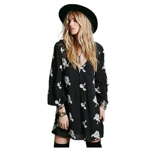 Free People Black and White Embroidered Mini Dress